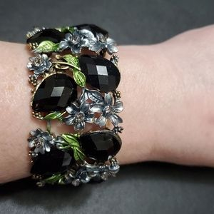 Bronze tone bracelet with black beads